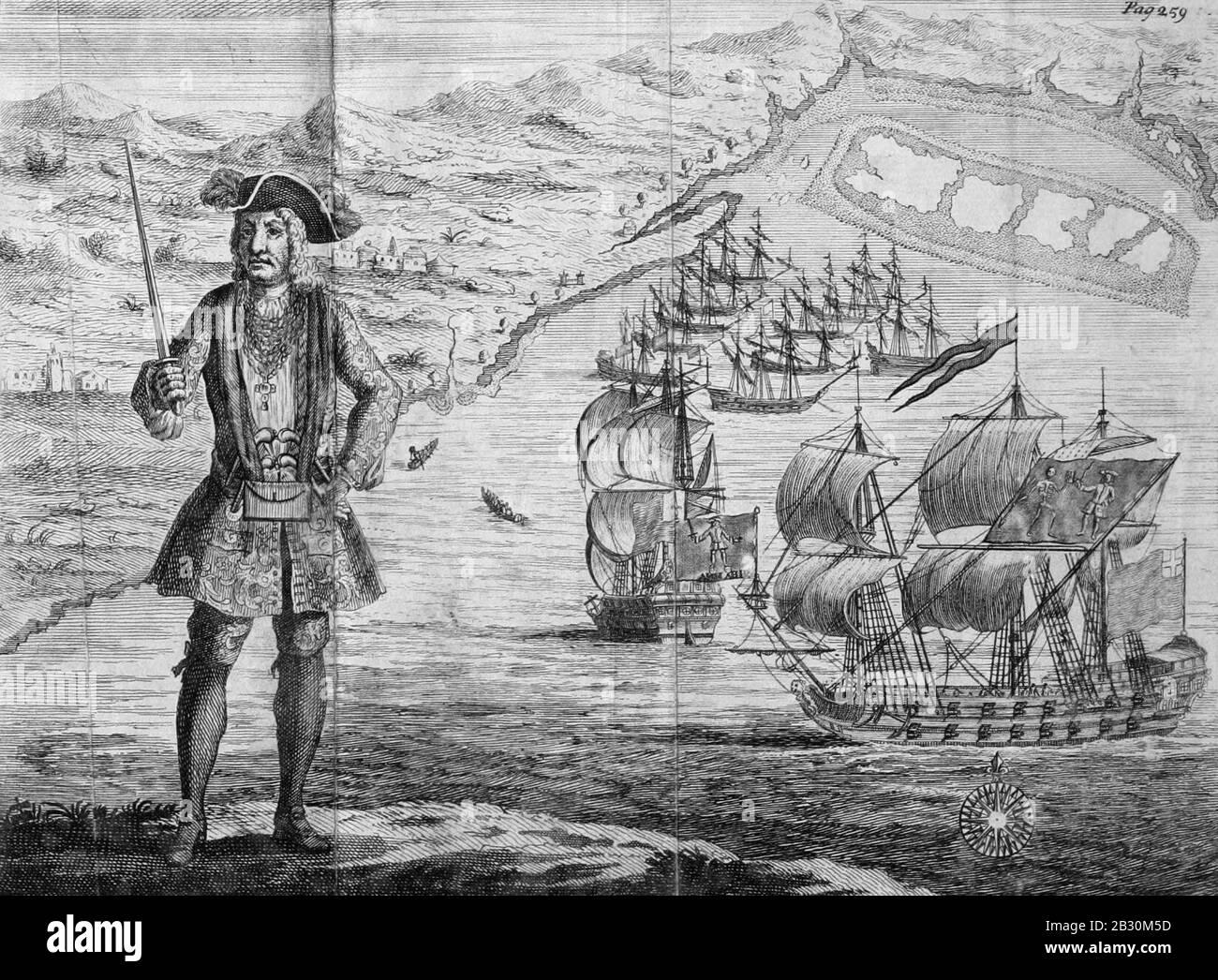 Histoire générale des Pyrates - Capitaine Bartholomew Roberts avec deux navires. Banque D'Images