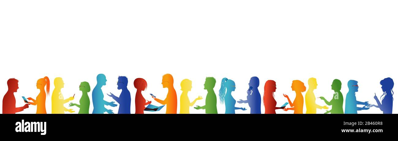 Communauté. La foule parle. Association ou organisation de réunions. Un grand groupe de personnes parlant. Concept de partenariat. Formation. Unité. Coopération Banque D'Images
