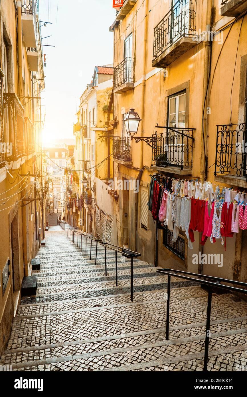 Escalier dans la rue pavée de Lisbonne. Blanchisserie suspendue dans une rue étroite typique. Coucher de soleil dans le vieux centre-ville de Lisbonne, impressions de la ville. Lissabon. Banque D'Images