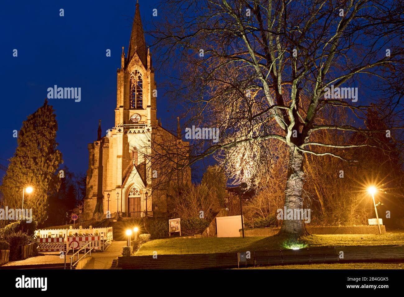 Christuskirche, Heure Bleue, Bad Pyrmont, Weserbergland, Basse-Saxe, Allemagne, Europe Banque D'Images