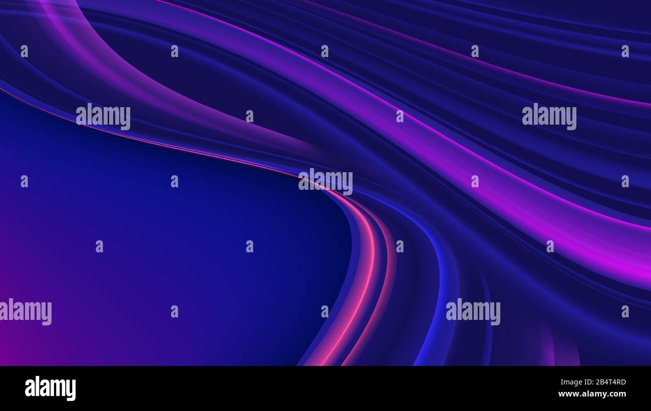 Illustration vectorielle de traînées abstraites de dégradé en forme de courbure et en couleur violette. Illustration de Vecteur