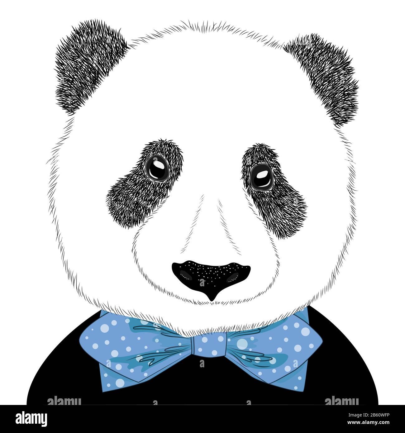 Illustration tirée à la main d'une tête de panda avec une cravate. Joli portrait de mode isolé sur fond blanc. Illustration de Vecteur