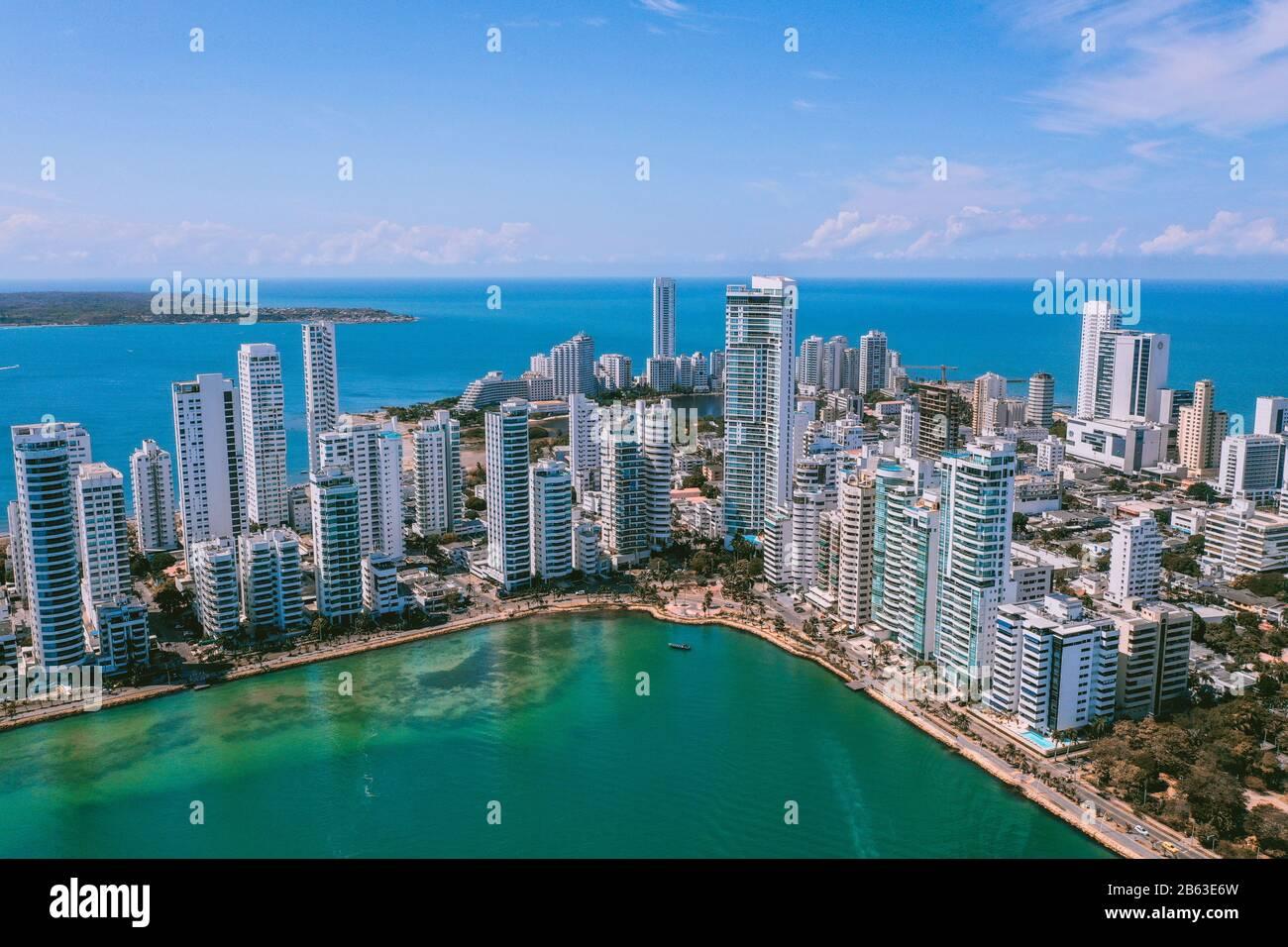 Vue aérienne de Carthagène Bocagrande Banque D'Images