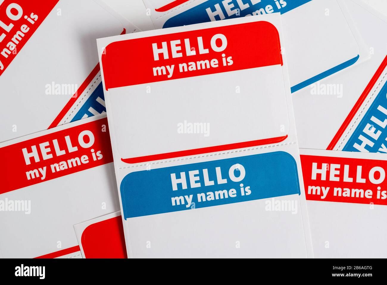 Bonjour mon nom est badge de nom en papier aticker Banque D'Images