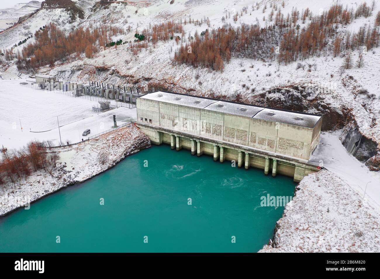Centrale Hydroélectrique De Burfellsvirkjun, Thjorsardalur, Islande Banque D'Images