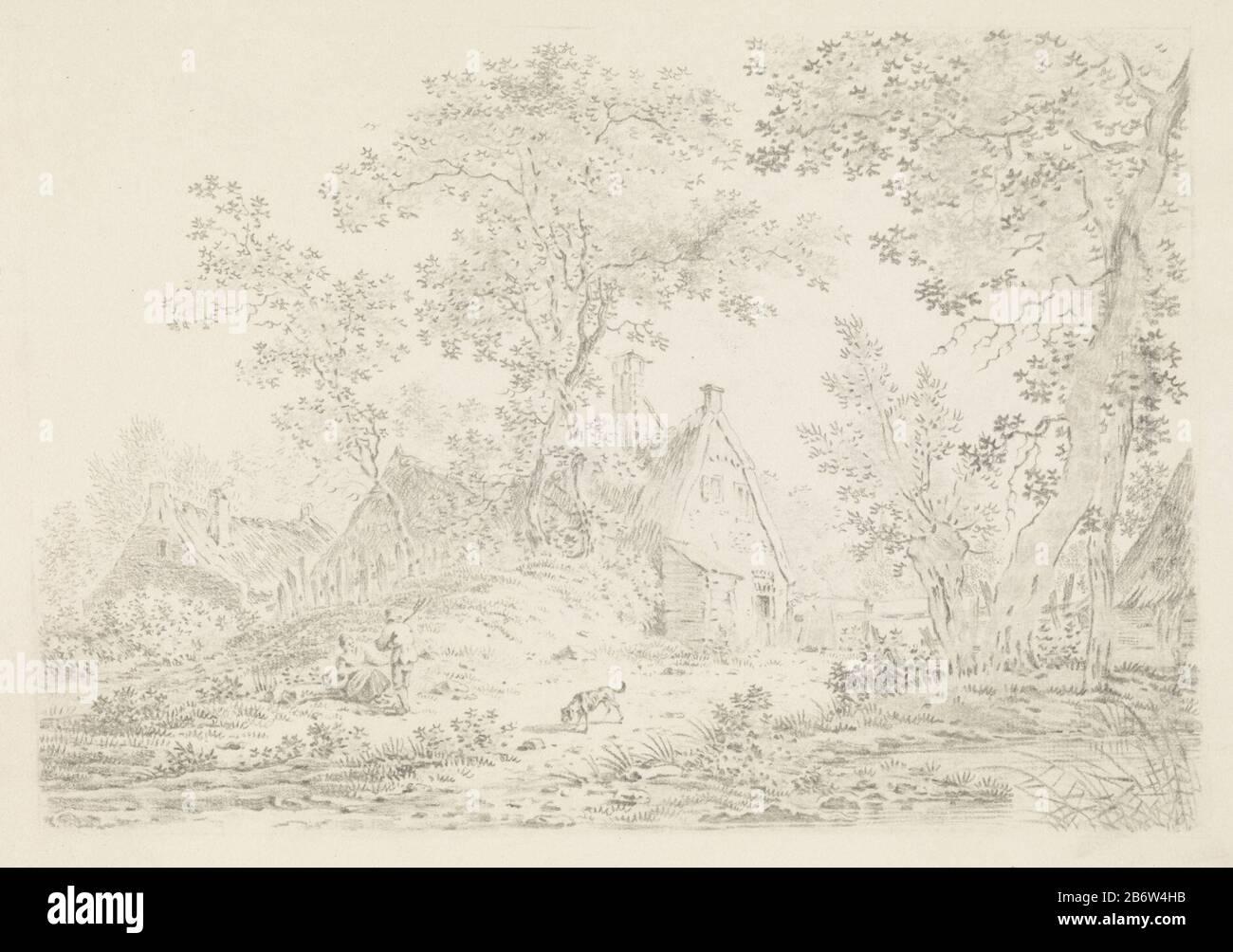 Huizen dans le Het bos Les maisons sont cachées parmi les arbres. Au premier plan se trouve une femme au sol. Avant elle se tient un homme avec une fourche sur son épaule. Au milieu, il y a un fond. Fabricant : machine à imprimer: Pieter Bartholomeusz. Barbier Lieu de fabrication: Haarlem Date: 1809 - 1837 Caractéristiques physiques: Lithographie matériau: Technique du papier: Lithographie (technique) Dimensions: Feuille: H 250 mm × W 350 mm Objet: Paysages (+ paysage avec chiffres, étalage) instruments agricoles: Ferme de fourche (bâtiment) Banque D'Images