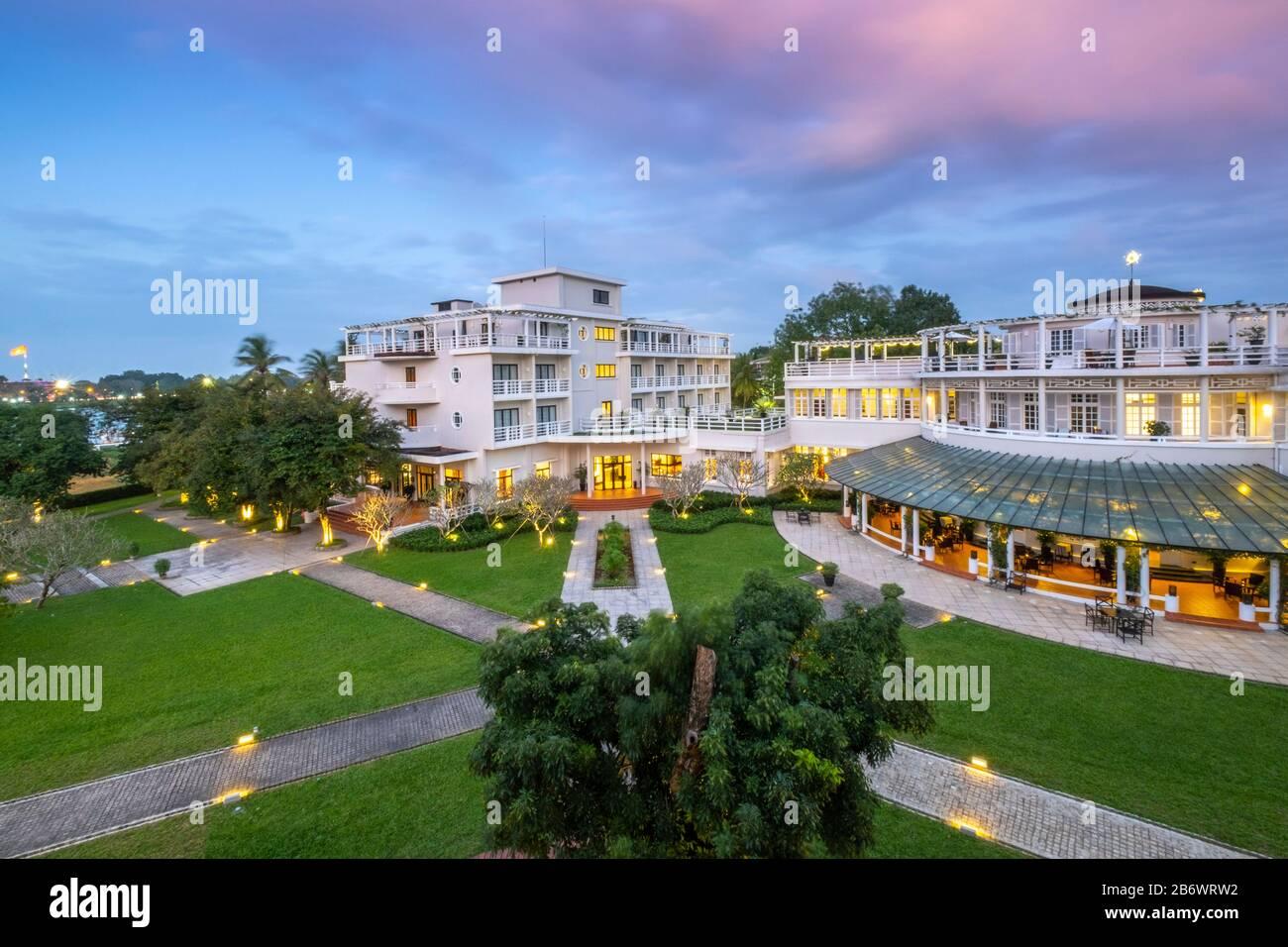 L'Asie du Sud-est, le Vietnam, L'hôtel Azerai la Residence à Hue - une ville historique et un site du patrimoine mondial Banque D'Images