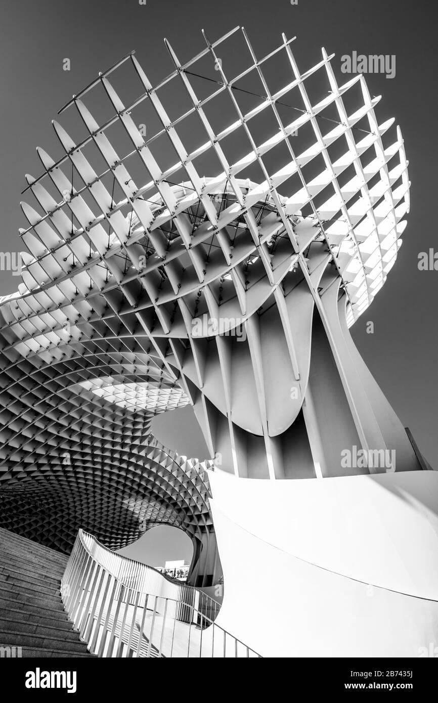 Séville Metropol Parasol Séville Séville Séville Séville champignons Las Setas de Sevilla Plaza de la Encarnación Séville Espagne séville Andalousie Europe monochrome Banque D'Images