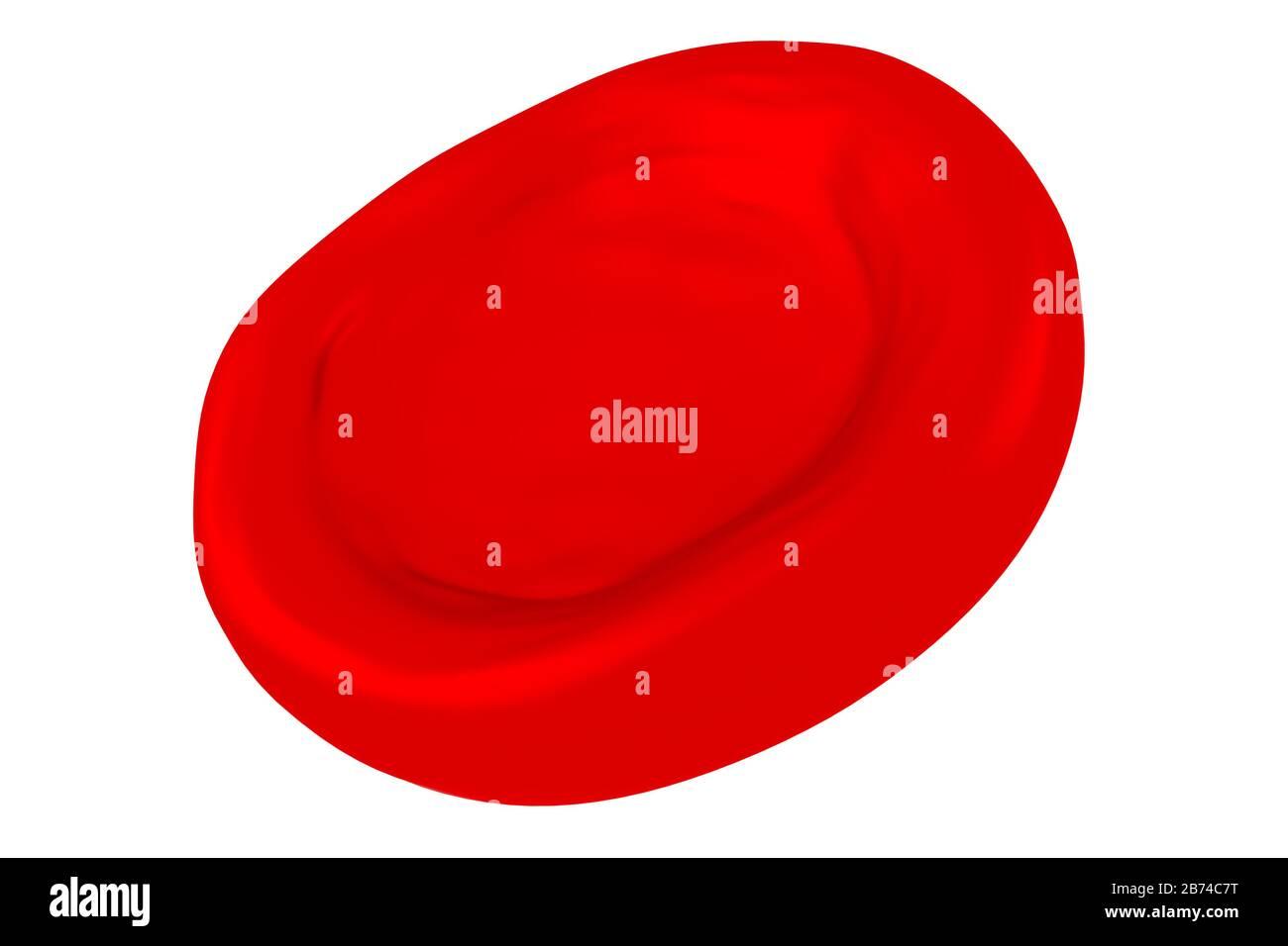 Cellule de sang rouge tridimensionnelle - isolée sur fond blanc Banque D'Images