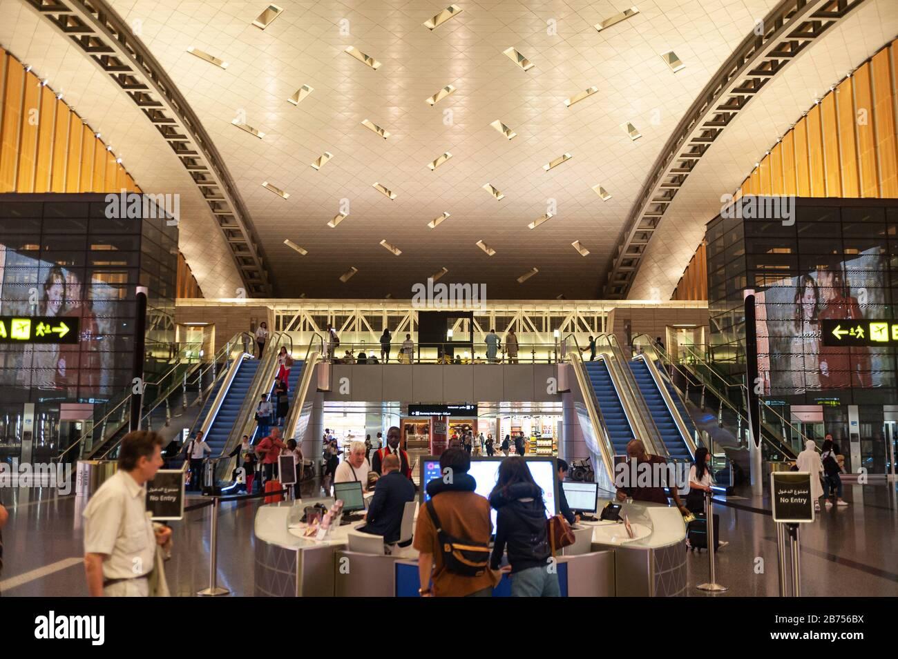 27.06.2019, Doha, Qatar - vue intérieure du nouvel aéroport international de Hamad. [traduction automatique] Banque D'Images