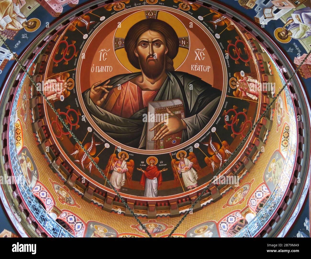 La murale de Jésus-Christ sur le dôme de la cathédrale Saint Mena à Héraklion, Crète, Grèce. Banque D'Images