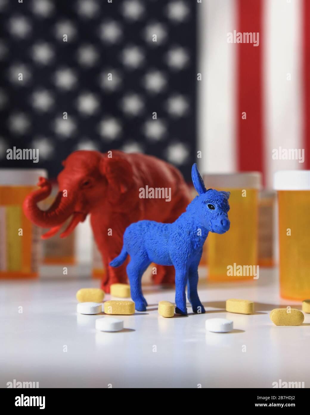 Un âne bleu en tant que démocrate et un éléphant rouge en tant que retublica sont contre un drapeau américain avec des bouteilles de pilule d'ordonnance pour un concept de coût médical Banque D'Images