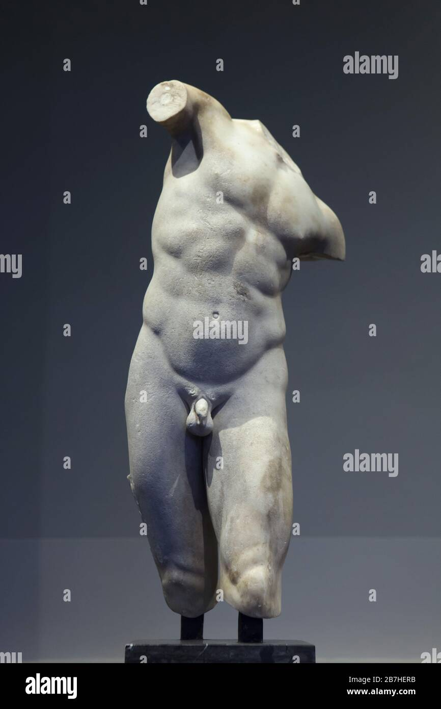 Satyr Torso est exposé dans la Gemäldegalerie Alte Meister (Old Masters Gallery) à Dresde, Allemagne. Copie en marbre romain datée du premier ou du deuxième siècle après une statuette en bronze perdue datée du 3ème ou du 2ème siècle avant J.-C. Banque D'Images