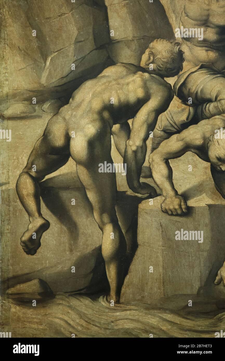 """Détail de la peinture """"la bataille de Cascina"""" par le peintre italien de la Renaissance Bastiano da Sangallo connu sous le nom d'Aristogen (1542) après la perte de dessin animé par l'artiste italien de la Renaissance Michelangelo Buonarroti (1506) lors de l'exposition consacrée à Leonardo da Vinci dans le Musée du Louvre à Paris, France. L'exposition marquant le 500ème anniversaire de la mort de Leonardo se déroule jusqu'au 24 février 2020. Banque D'Images"""