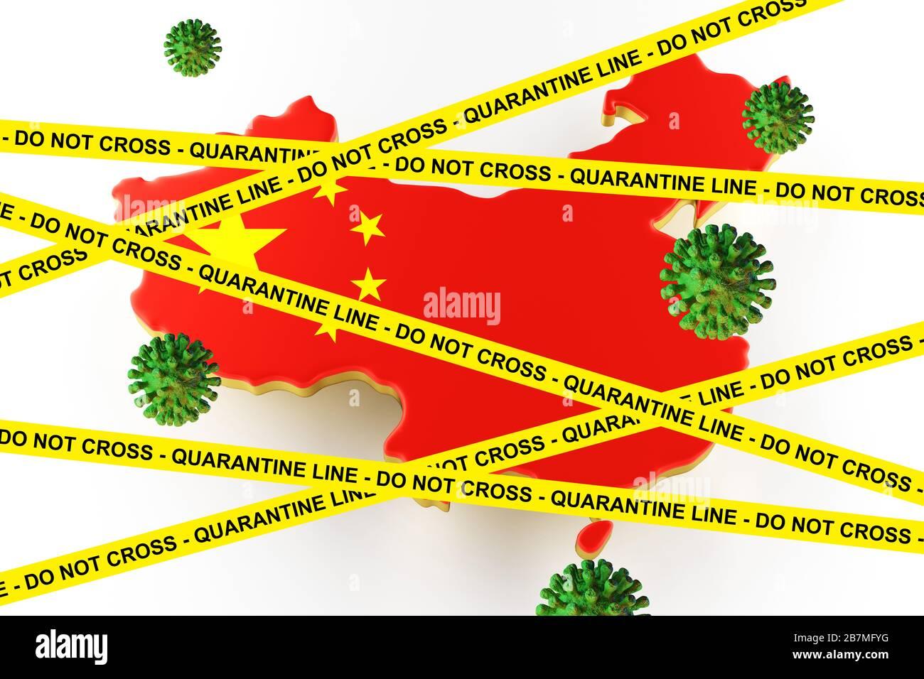 Vue microscopique du Coronavirus, un pathogène qui attaque les voies respiratoires. Analyse et test, expérimentation. Maladie infectieuse. Carte du monde avec la Chine. rendu tridimensionnel Banque D'Images