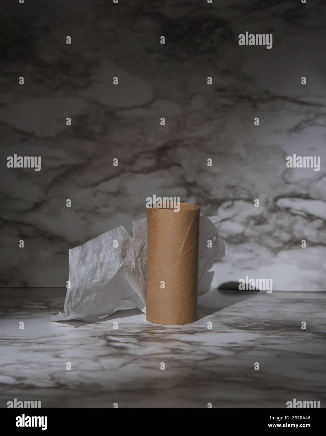 Un rouleau de papier toilette vide et utilisé avec un coup de projecteur sur l'objet pour une pénurie de papier toilette de l'offre et de la demande sur la pandémie du virus corona. Banque D'Images