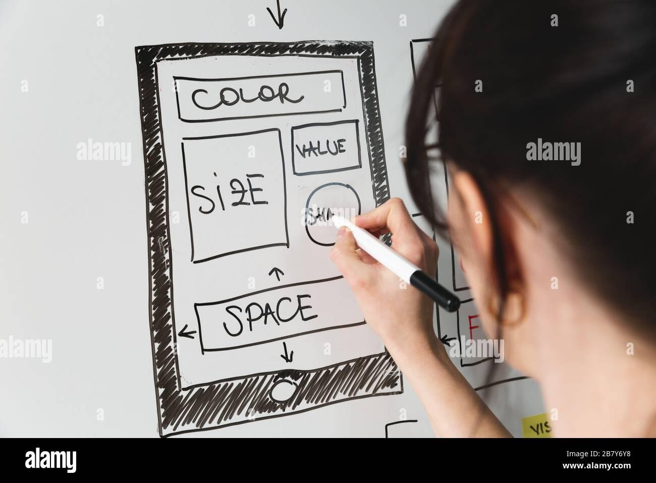 Femmes concepteur de site Web planification créative application développement modèle de mise en page cadre de conception filaire studio . Concept d'expérience utilisateur Banque D'Images