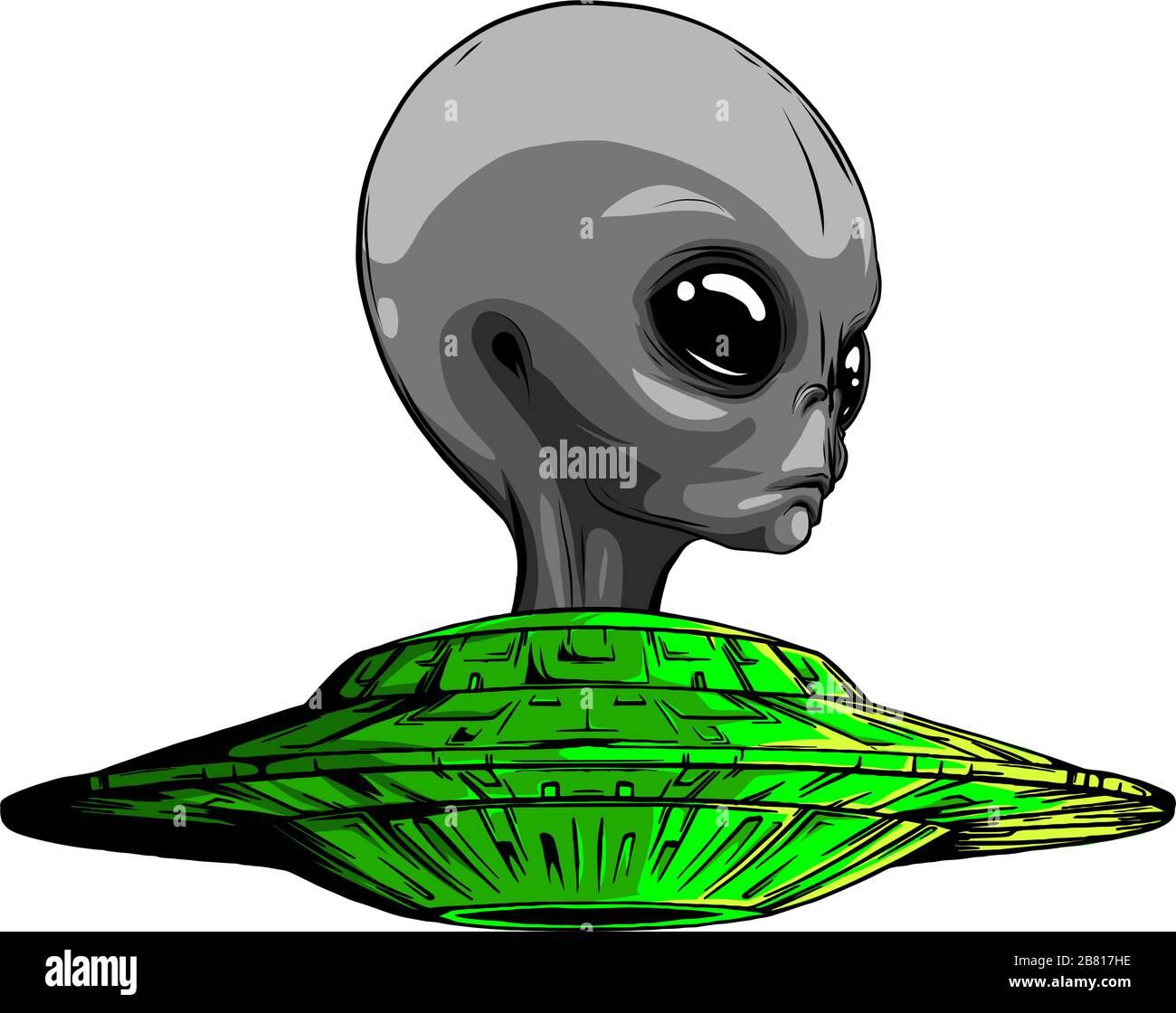 Space Aliens. Icône OVNI. Illustration vectorielle Illustration de Vecteur