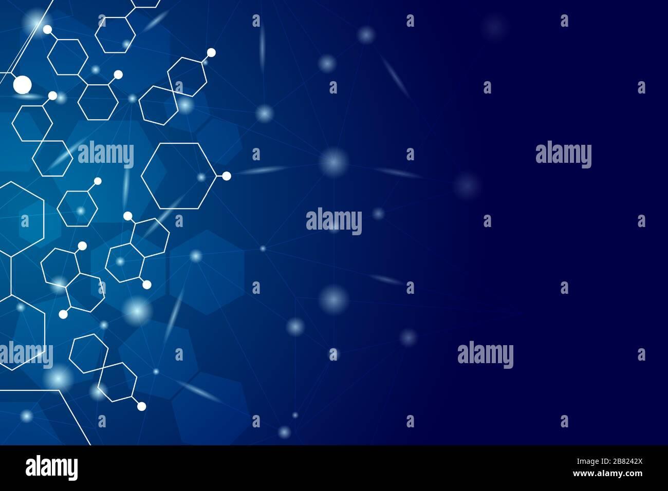 Fond de science de gradient bleu avec forme hexagonale, effet brillant et espace de copie pour le texte du message. Illustration de Vecteur