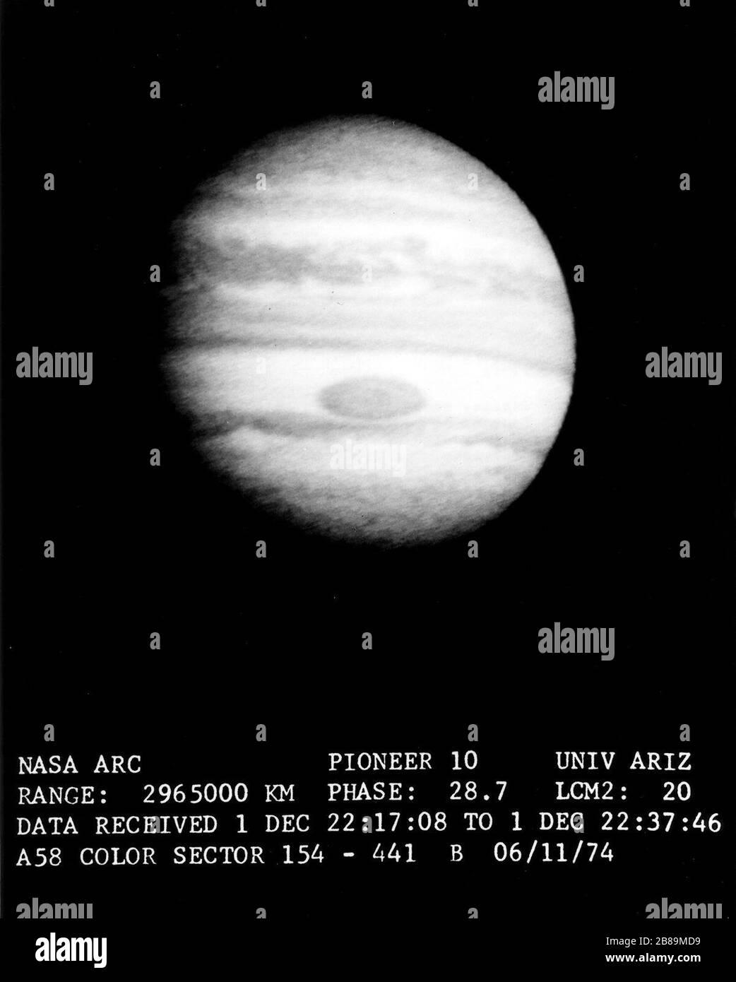 Jupiter et sa grande tache rouge Banque D'Images