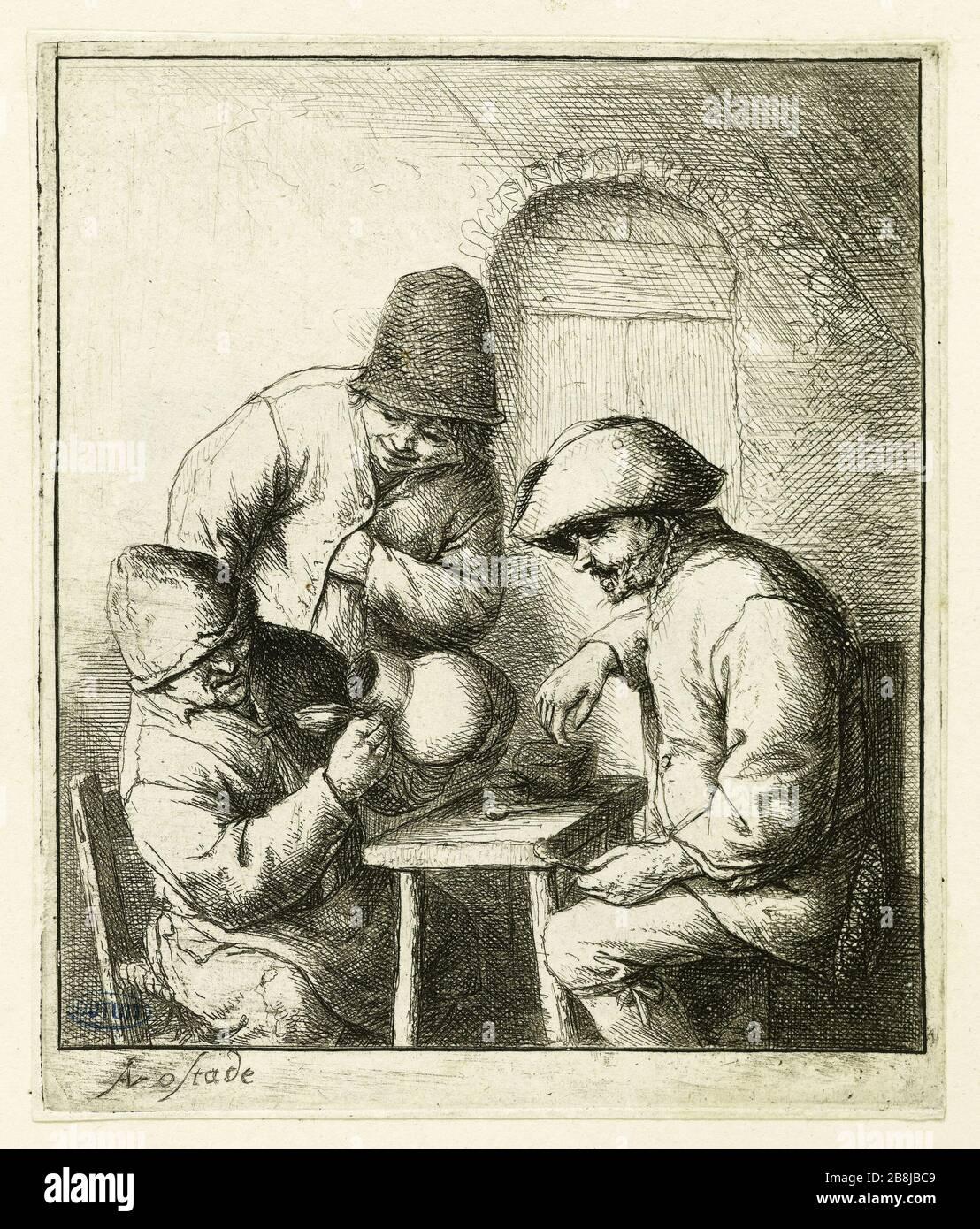 La cruche vide (Bartsch 15) Adriaen Van Ostad (1610-1685). La cruche vide (Bartsch 15). Eau-forte, vers 1653. Musée des Beaux-Arts de la Ville de Paris, petit Palais. Banque D'Images