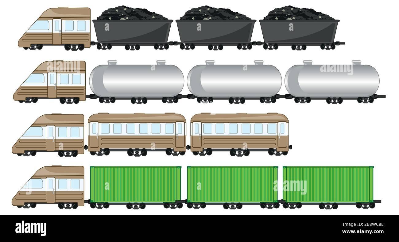 Illustration vectorielle du train de marchandises avec réservoir et cargaison Illustration de Vecteur