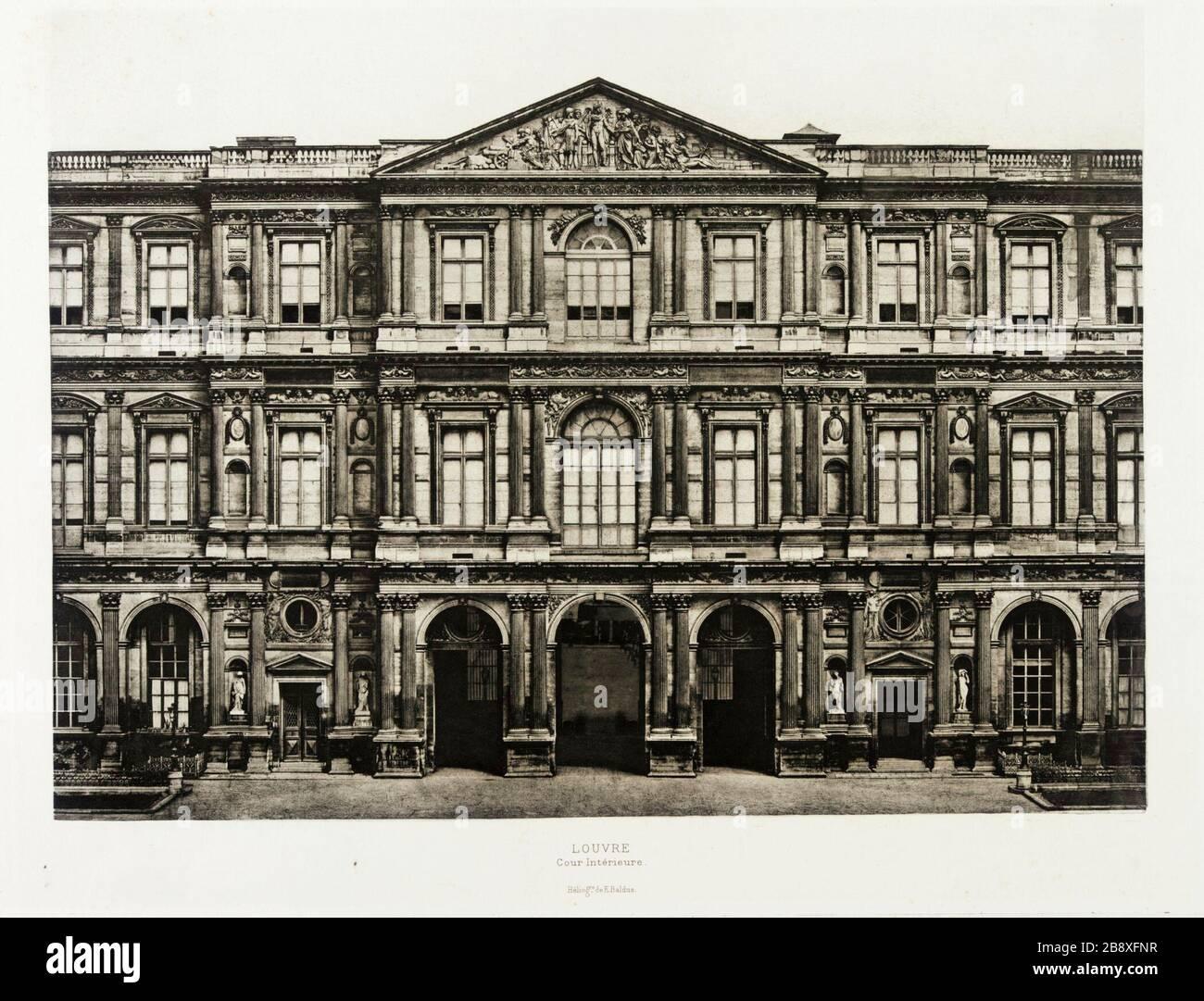 'Louvre, cour intèrieure; Anglais: façade sud du Pavillon de 1800 sur le côté nord de la Cour carrée du Louvre à Paris, France, vers 1856 Photographies Photogravure de Droit: 14 3/4 x 19 in. (37,47 x 48,26 cm); feuilles: 17 1/2 x 25 in. (44,45 x 63,5 cm Don anonyme (AC1998.239.1) photographie; circa 1856 QS date:P571,+1856-00-00T00:00:00Z/9,P1480,Q5727902; ' Banque D'Images
