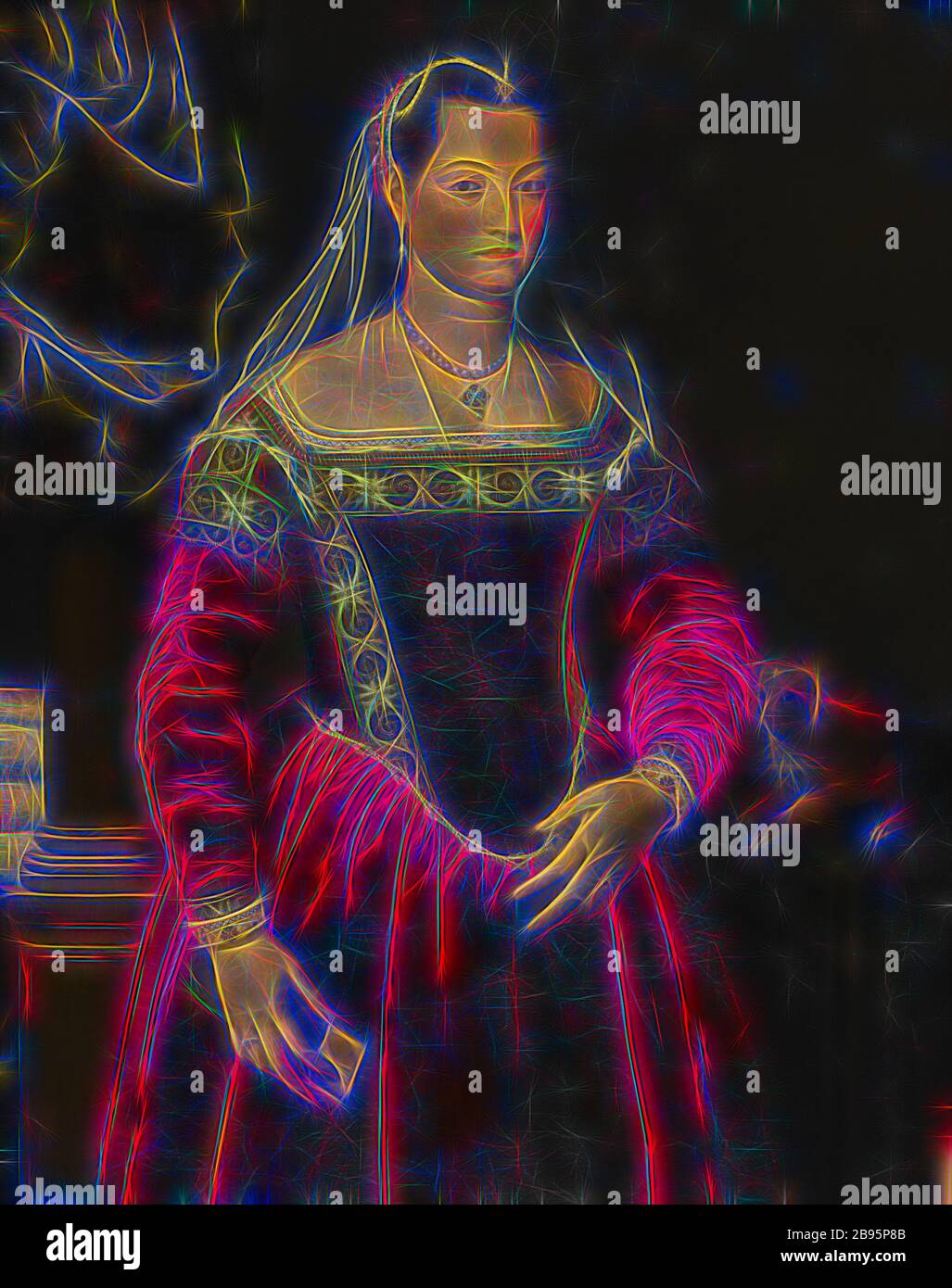 Portrait d'une Dame, Jacopo Zucchi (italien, 1540-1596), sortie 1560, huile sur toile, 48 x 37-3/4 po. (toile) environ 63-1/2 x 54-1/4 x 4-1/2 in. (Encadré), peinture et sculpture européenne avant 1800, repensée par Gibon, design de gaie chaleureuse de luminosité et de rayons de lumière radiance. L'art classique réinventé avec une touche moderne. La photographie inspirée du futurisme, qui embrasse l'énergie dynamique de la technologie moderne, du mouvement, de la vitesse et révolutionne la culture. Banque D'Images
