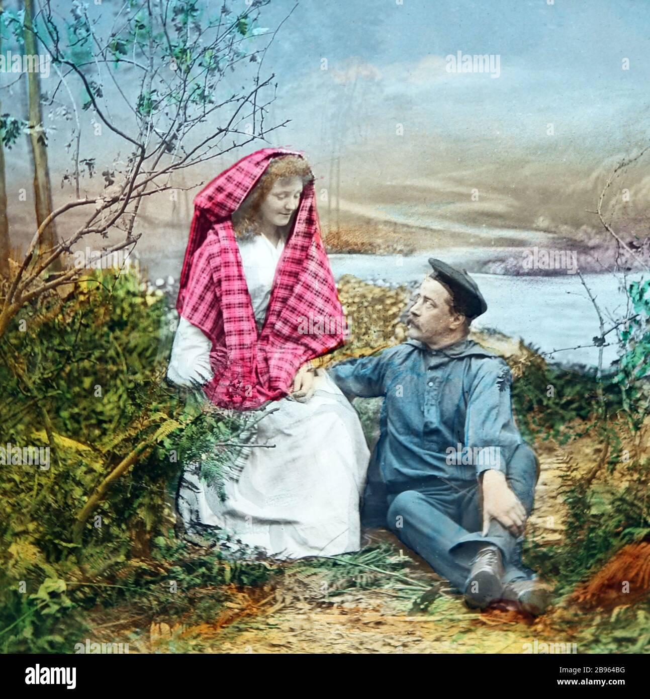 Une illustration victorienne de la chanson / poème 'Annie Laurie'. Il s'agit de l'image numéro 8. Il y a huit images au total, toutes sur Alay. Banque D'Images