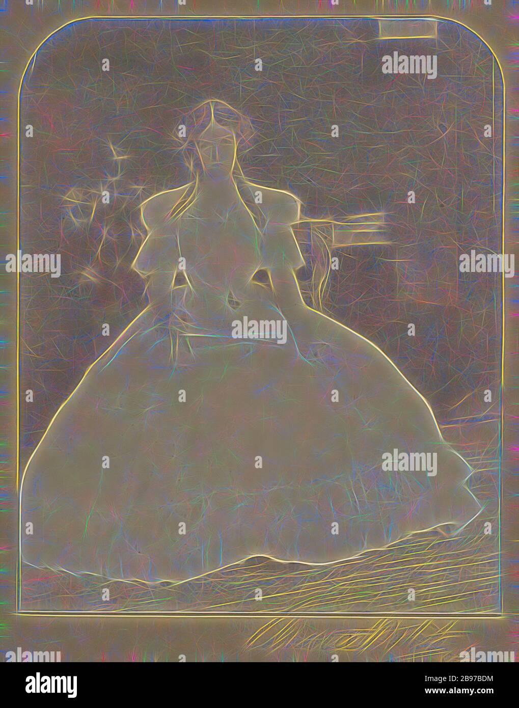 Portrait d'une femme en boucles dans la robe coulante, Clarence H. White (américain, 1871 - 1925), 1904, imprimé platine, 23,3 × 18,9 cm (9 3/16 × 7 7/16 in.), repensé par Gibon, design de glanissement chaleureux et gai de la luminosité et des rayons de lumière radiance. L'art classique réinventé avec une touche moderne. La photographie inspirée du futurisme, qui embrasse l'énergie dynamique de la technologie moderne, du mouvement, de la vitesse et révolutionne la culture. Banque D'Images