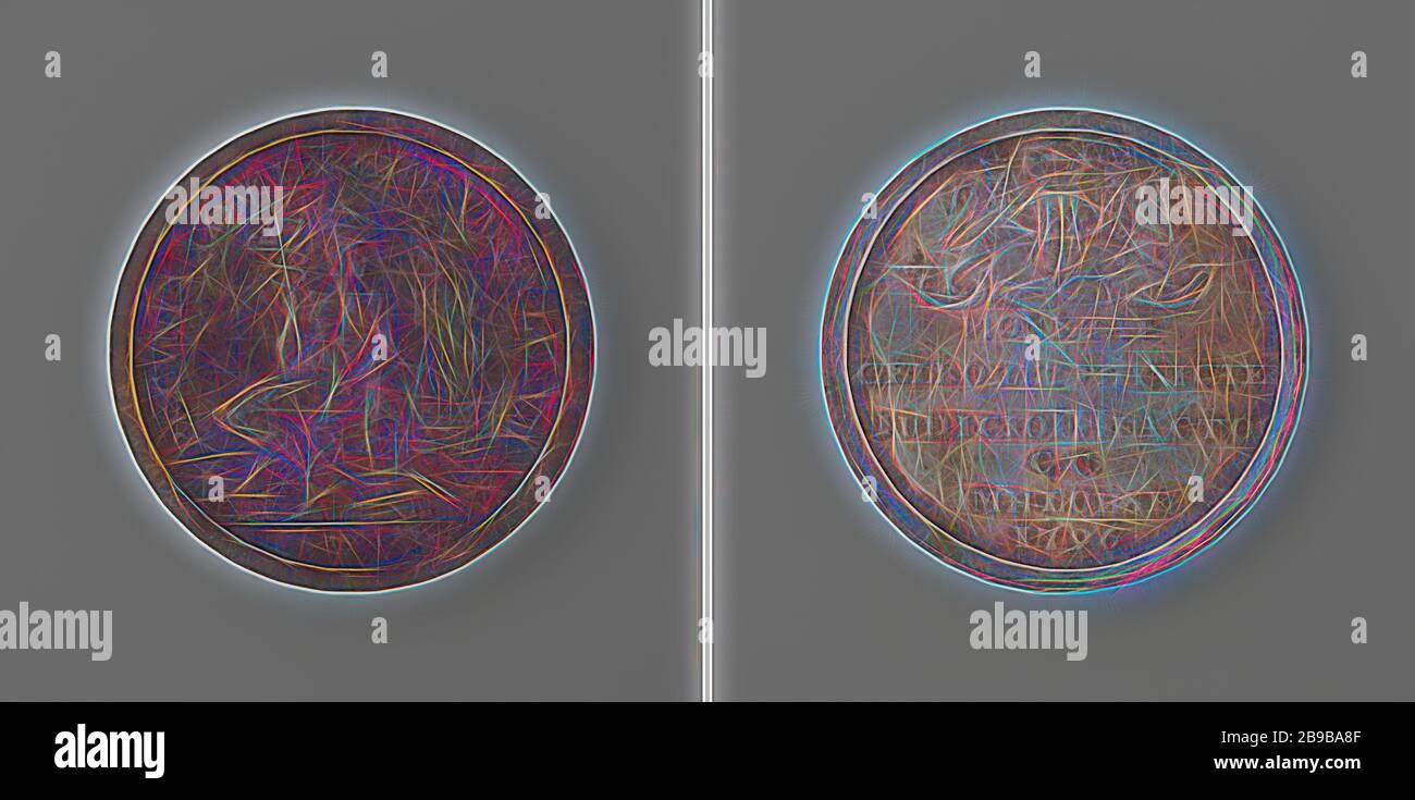 Vérification de la pièce de Harderwijk, face de la médaille d'argent : le mercure avec chapeau et le personnel est assis sur une boîte d'argent, accouchent à ses pieds, en arrière-plan un four de fusion brûlant dans un cercle, coupé: Signature. Inverse : inscription sous une couche courbée d'armes flanquée de deux lions couronnés, Gelderland, Marten Hendrik Lohse, Harderwijk, 1796, argent (métal), frappant (métallurgie), d 3,8 cm × W 30,31 gr, repensé par Gibon, conception de glanissement chaleureux et gaie de rayons lumineux. L'art classique réinventé avec une touche moderne. La photographie inspirée du futurisme, embrassant l'énergie dynamique du t moderne Banque D'Images