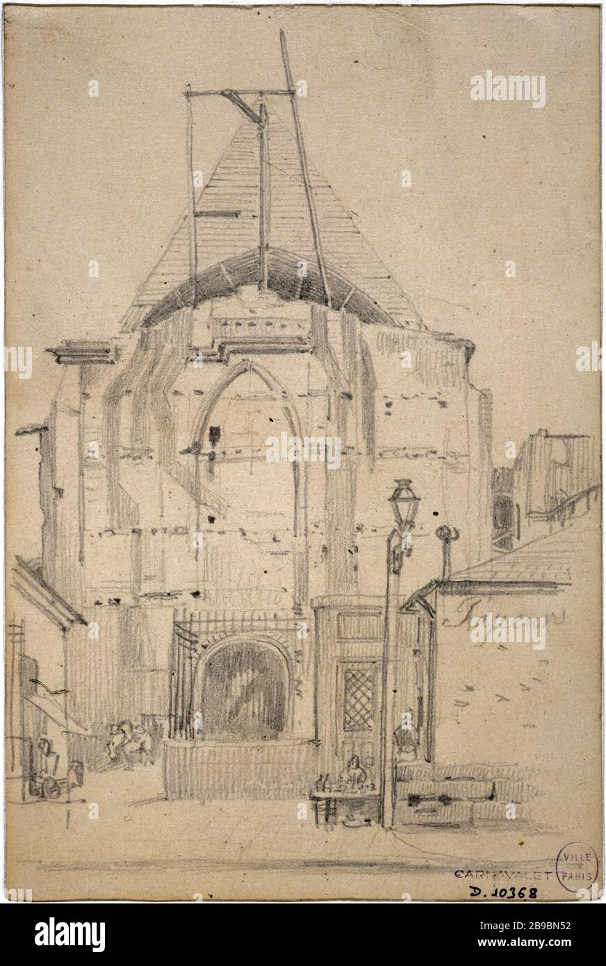 ANCIENNE PORTE DE L'ÉGLISE DE L'ABBAYE DE SAINT-MARTIN-DES-CHAMPS APRS7S LA DÉMOLITION DU BÂTIMENT QUI A ÉTÉ SOUTENUE - 19 SEPTEMBRE 1853 CHARLES FICHAUD (1817-1903). 'Ancien portrait de l'église de l'abbaye de Saint-Martin-des-champs après la disparition du bâtiment qui a été fleuri, 19 septembre 1853'. Dessert. Paris, musée Carnavalet. Banque D'Images