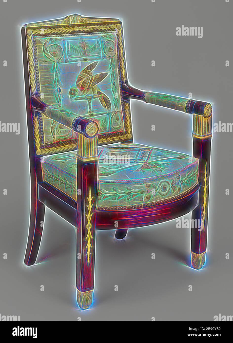 Un fauteuil, cadres attribués à François-Honoré-Georges Jacob-Desmalter (français, 1770 - 1841), tapisseries de la manufacture de Beauvais (français, fondée 1664), Beauvais, France, vers 1810, acajou et hêtre, montures de bronze doré, tapisserie de soie et de laine, 100,6 x 63,5 x 48,3 cm (5,39 x 25 x 19 x 20 x 20 x 19 x conception d'un brillant chaleureux et joyeux de la luminosité et des rayons de lumière radiance. L'art classique réinventé avec une touche moderne. La photographie inspirée du futurisme, qui embrasse l'énergie dynamique de la technologie moderne, du mouvement, de la vitesse et révolutionne la culture. Banque D'Images