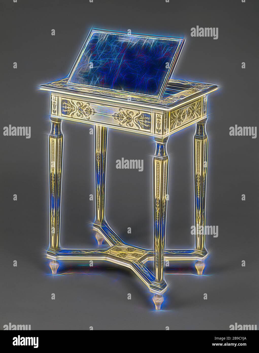 Table de lecture et d'écriture, Paris, France, vers 1670 - 1675, chêne avec ivoire, corne peinte en bleu, ébène, bois de rose, Et amarante, avec tiroir en noyer, moulures en bronze doré, laiton, fer, velours moderne, 63,5 x 48,5 x 35,5 cm (25 x 19 1,8 x 14 po, repensée par Gibon, design de brillant gai chaud de luminosité et de rayonnement de lumière. L'art classique réinventé avec une touche moderne. La photographie inspirée du futurisme, qui embrasse l'énergie dynamique de la technologie moderne, du mouvement, de la vitesse et révolutionne la culture. Banque D'Images