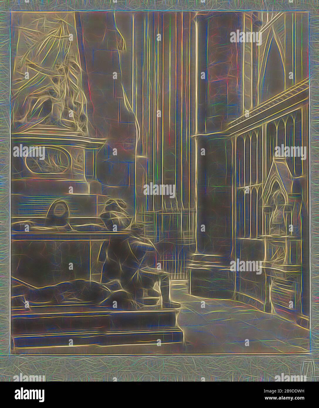 Abbaye de Westminster : allée nord-est, Tombeau de Vere et Franklin, Frederick H. Evans (britannique, 1853 - 1943), 1911, imprimé platine, 22,1 x 19,4 cm (8 11,16 x 7 5,8 po, réimaginé par Gibon, design de lueur chaleureuse et joyeuse de luminosité et de rayonnement de lumière. L'art classique réinventé avec une touche moderne. La photographie inspirée du futurisme, qui embrasse l'énergie dynamique de la technologie moderne, du mouvement, de la vitesse et révolutionne la culture. Banque D'Images