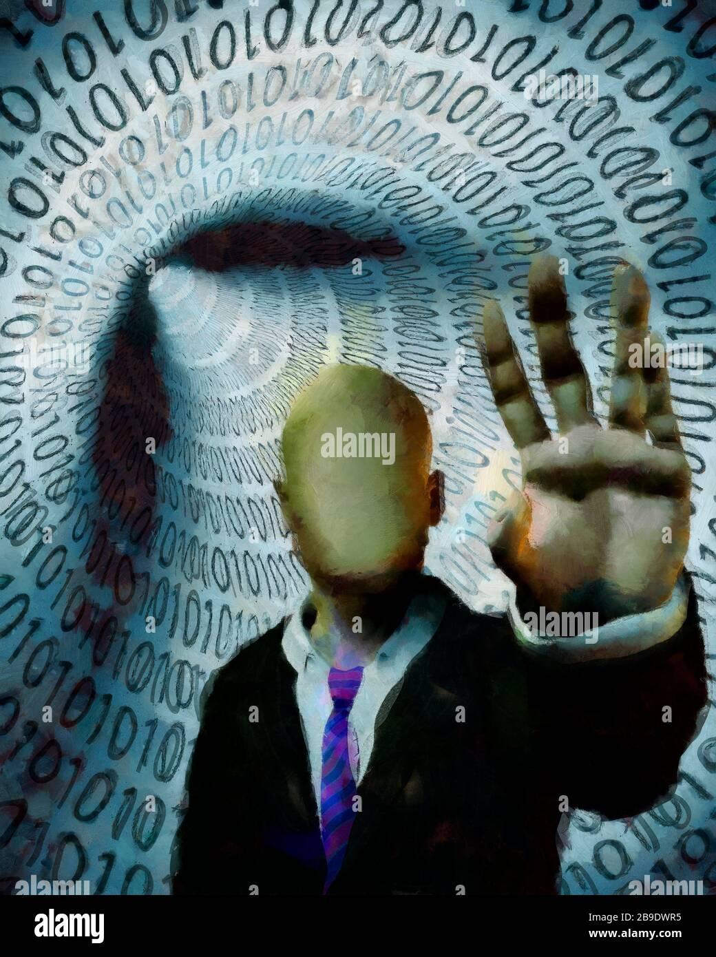 L'homme sans visage en costume met en garde. Tunnel de code binaire en arrière-plan Banque D'Images