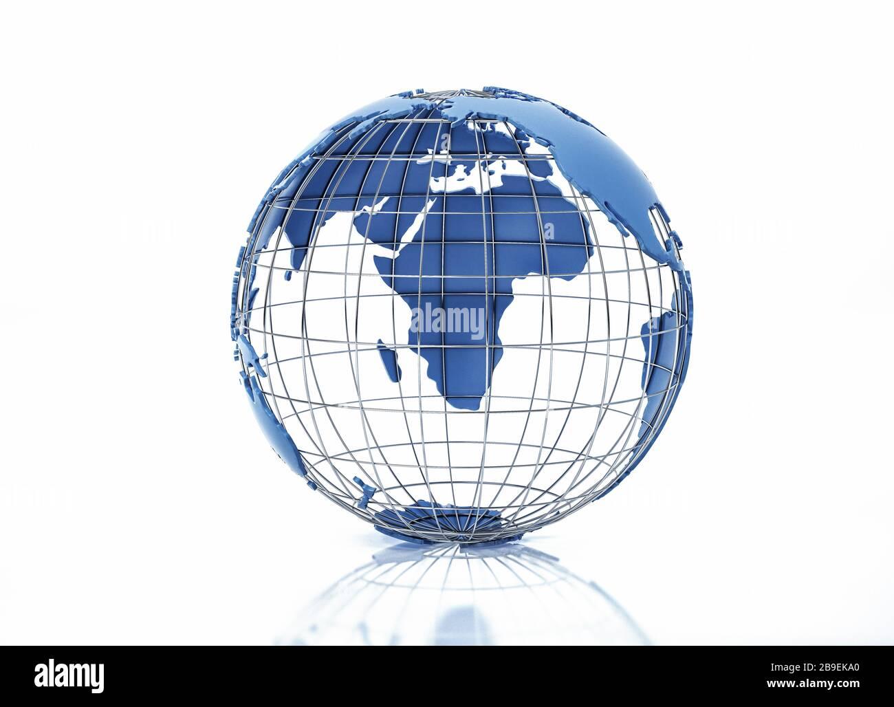 Globe terrestre stylisé en relief avec grille métallique, vue sur l'océan Pacifique. Banque D'Images