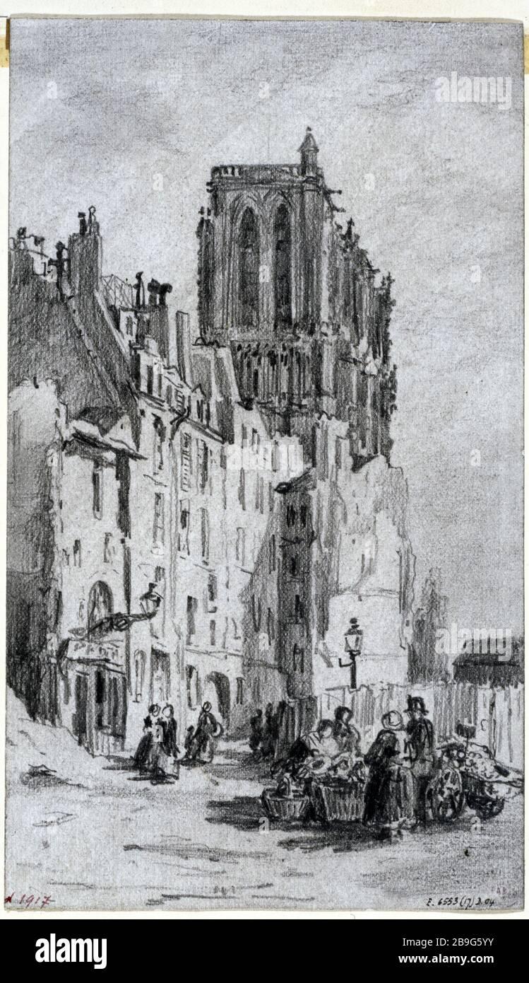 DÉMOLITION DE LA RUE ARCOLE Albert Maignan (1845-1908). 'Molution de la rue d'Arcole, 3 avril 1866.' Dessert. Paris, musée Carnavalet. Banque D'Images