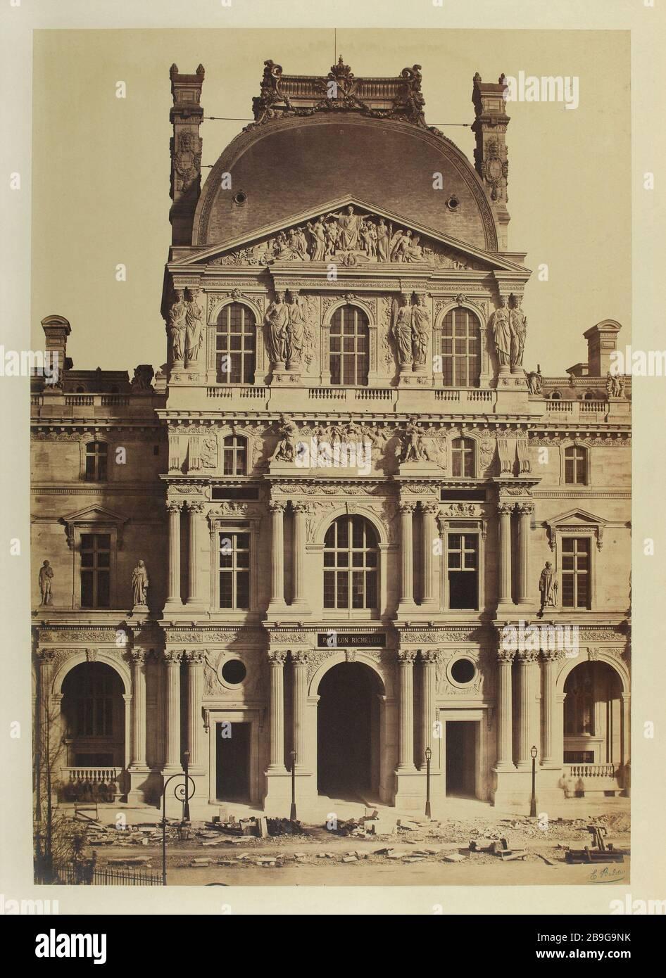 LA CONSTRUCTION DU NOUVEAU LOUVRE Edouard-Denis Baldus (1813-1889). Le chant du Nouveau Louvre, Paris (Ier arr.), vers 1855. Paris, musée Carnavalet. Banque D'Images
