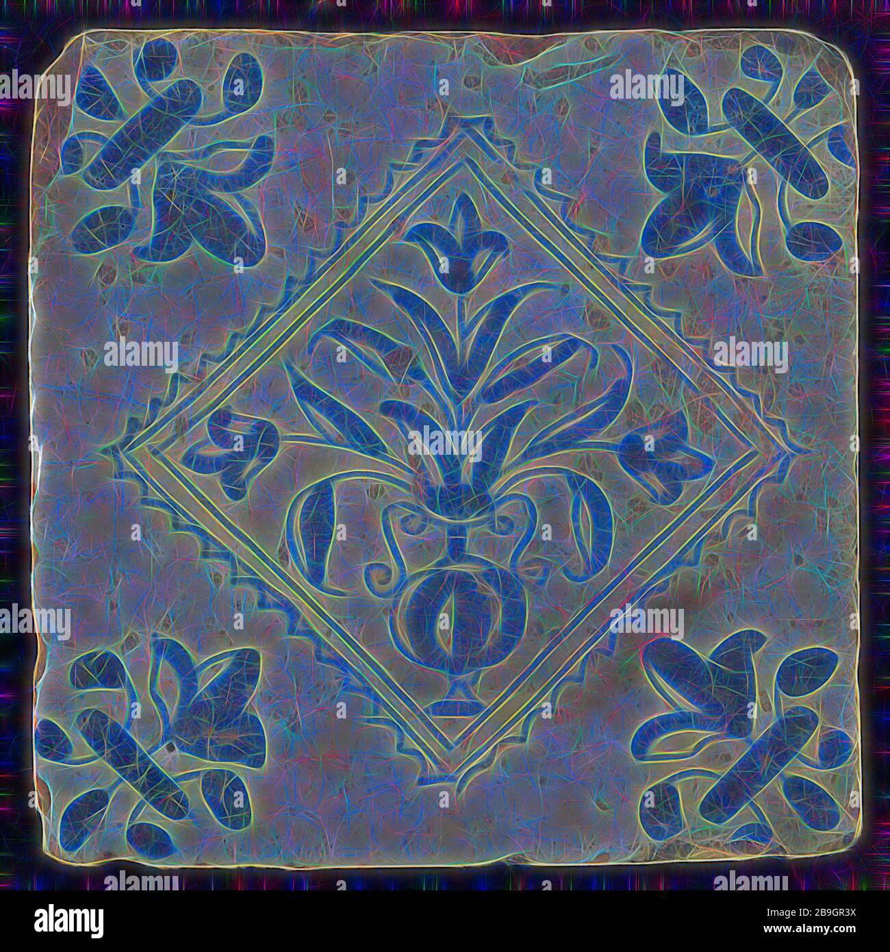 Tuile, cache-pot en bleu sur blanc, à l'intérieur coin carré dentelé, français modèle lily, carreaux de mur en faïence céramique sculpture mosaïque glaze, au four 2x vitrage peint Banque D'Images