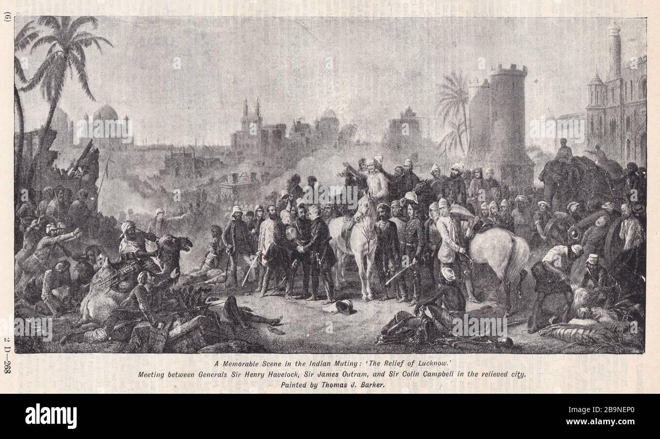 Le secours de Lucknow par Thomas J Barker - Réunion entre les généraux Sir Henry Havelock, Sir James Outram et Sir Colin Campbell dans la ville relevée. Banque D'Images