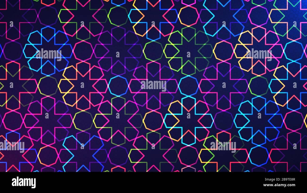EID Mubarak mosaïque fond. Illustration vectorielle d'un fond lumineux abstrait avec un motif islamique géométrique coloré au néon brillant Illustration de Vecteur