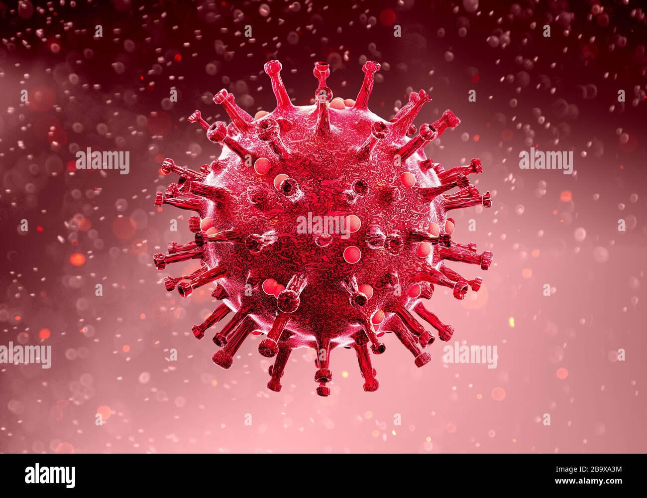 Vue microscopique du Coronavirus, un pathogène qui attaque les voies respiratoires. Covid-19. Analyse et test, expérimentation. SRAS Banque D'Images