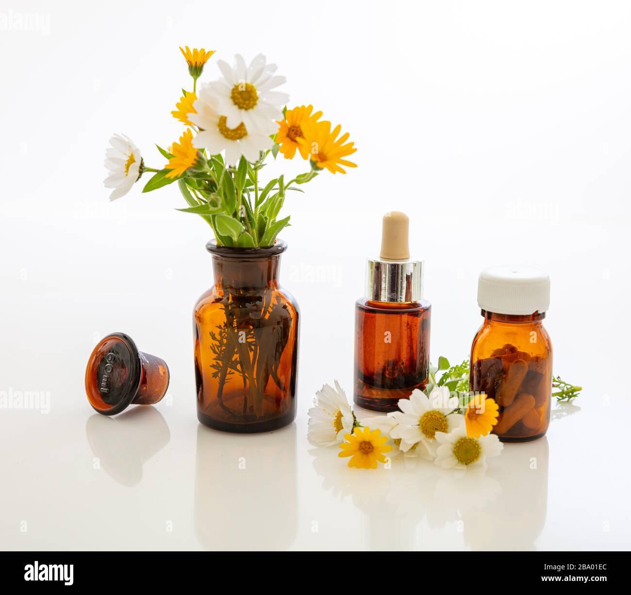 Médecine alternative à base de plantes. Bouteilles médicales en verre et fleurs sauvages fraîches isolées sur fond blanc. Huile essentielle, cosmétiques, médicaments contai Banque D'Images