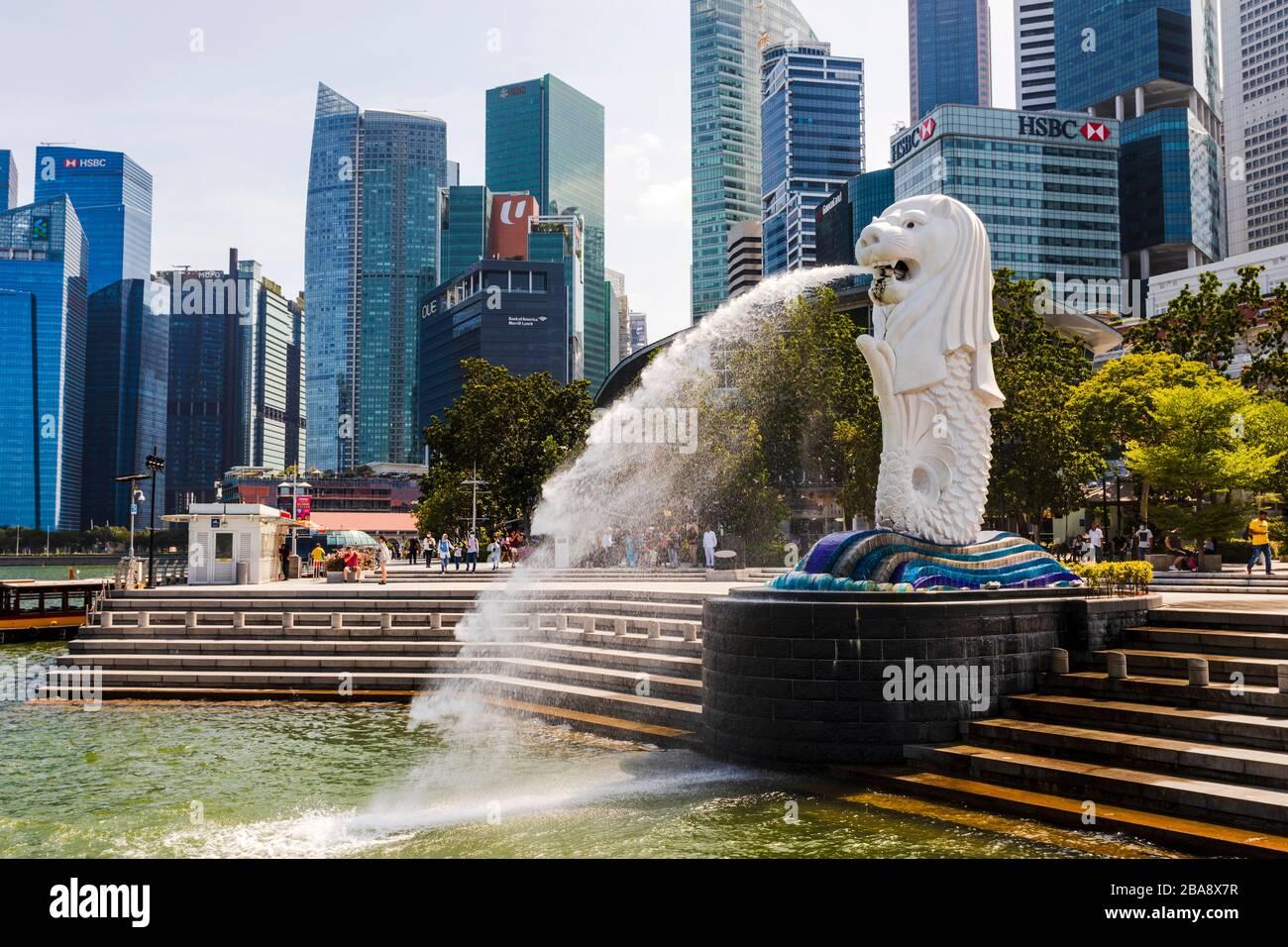 Statue de Merlion, Marina Bay, Singapour Banque D'Images