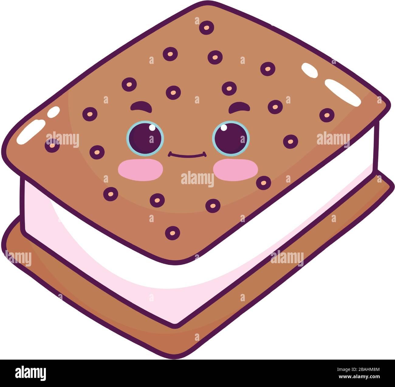 Mignonne Nourriture Glace Cookie Dessert Sucre Kawaii Dessin Vectoriel Illustration Vectorielle Isole Image Vectorielle Stock Alamy