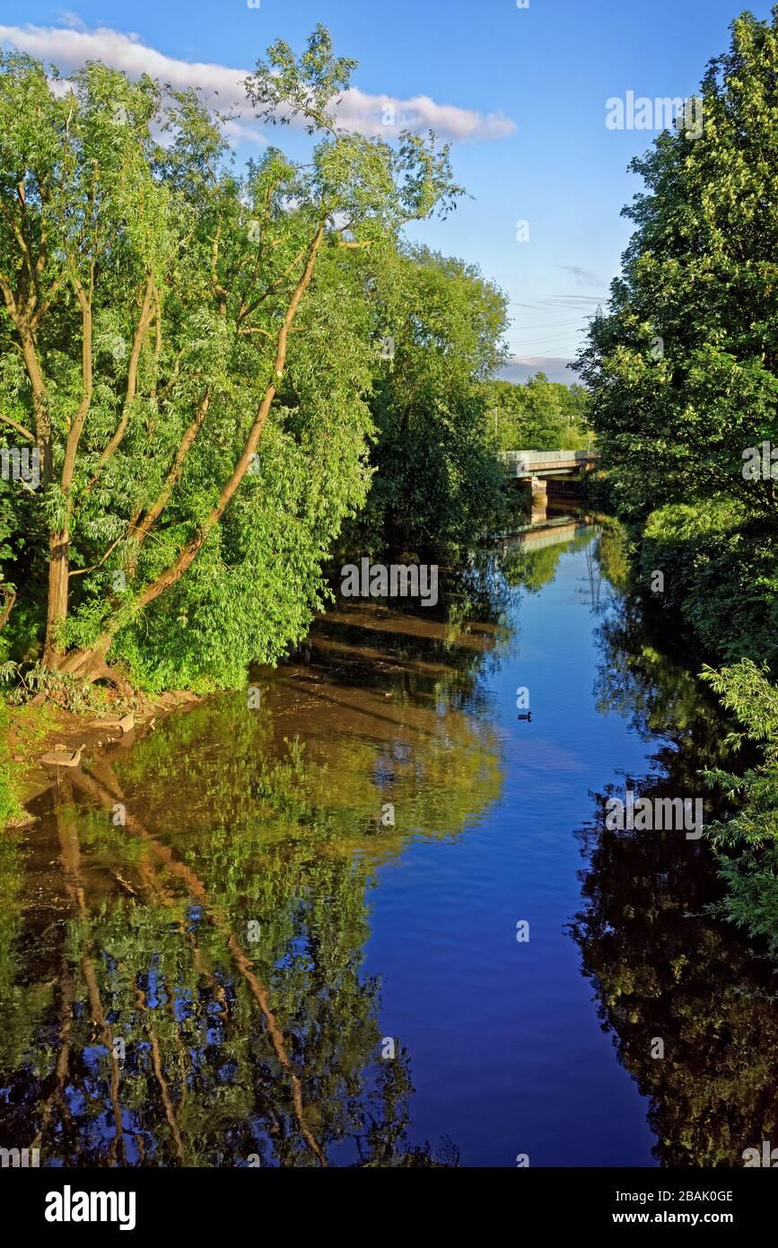 Royaume-Uni, Yorkshire du Sud, Sheffield, River Don & Supertram Bridge depuis Blackburn Meadows Way Banque D'Images