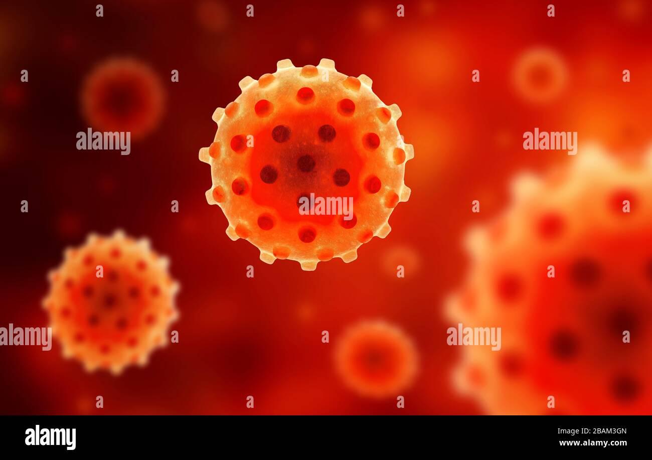 COVID-19 antécédents de coronavirus, vue microscopique du virus corona du SRAS-CoV-2 dans le sang, illustration tridimensionnelle. Recherche sur l'éclosion de coronavirus et la pandémie. Banque D'Images