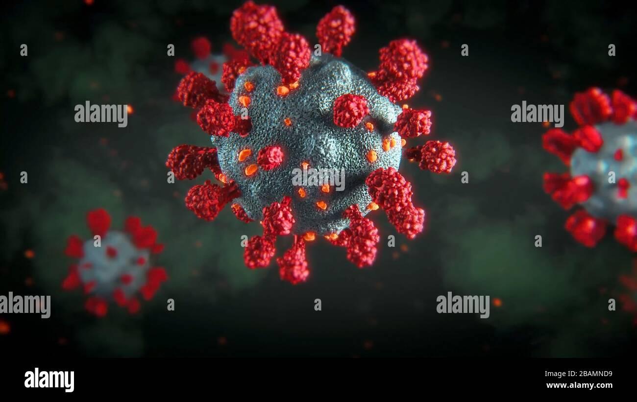 Coronavirus COVID-2019 concept nouveau de coronavirus. Vue microscopique des cellules flottantes du virus de l'influenza. Dangereux virus ncov corona. Banque D'Images