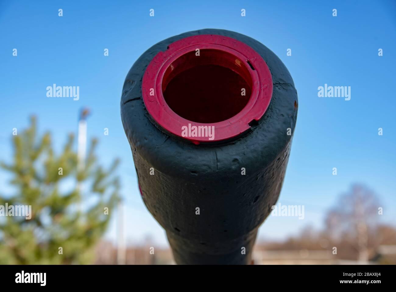 Le museau du canon, photographié en gros plan. Banque D'Images